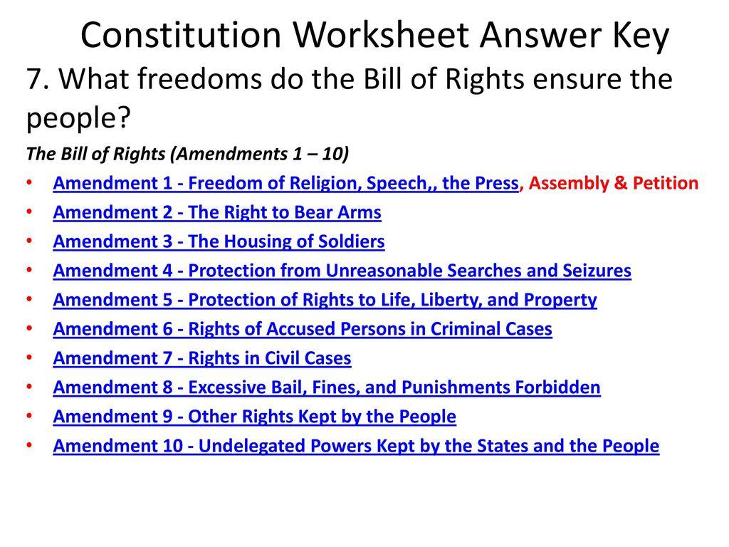 Consution Worksheet Answer Key