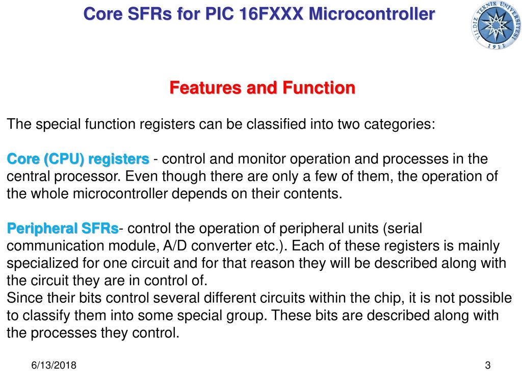 Microprocessors And Programming Department Of Mechatronics Single Line Serial Communication With Microcontroller Pic16f84 Core Sfrs For Pic 16fxxx
