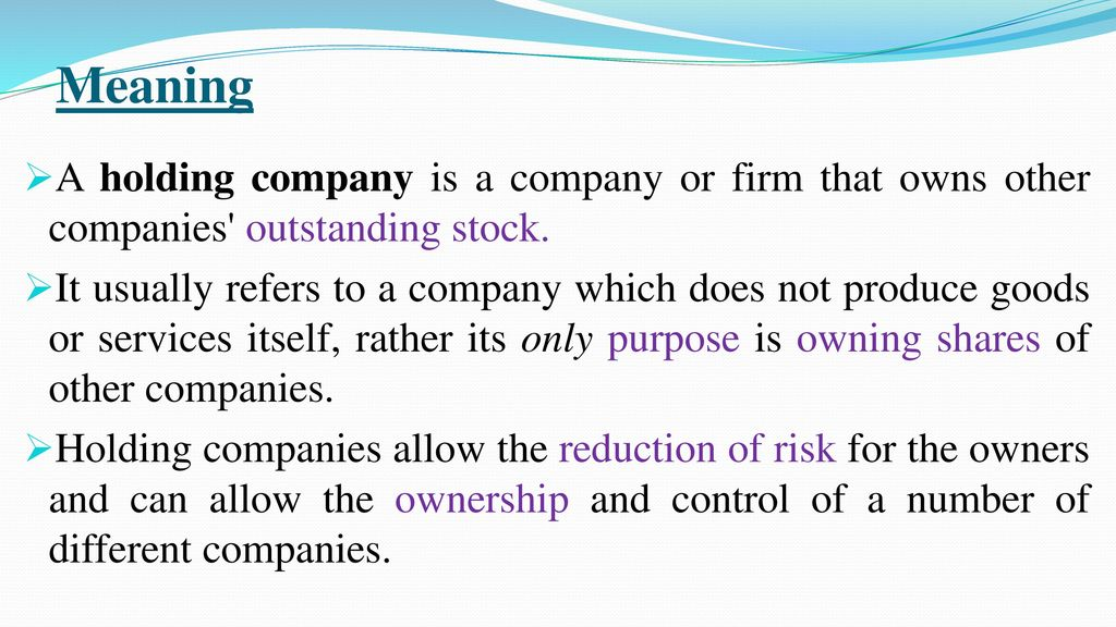 Holding Company Ppt Download