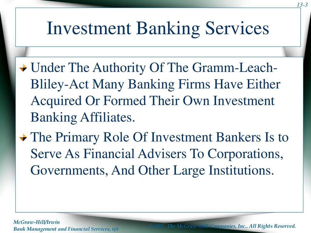 Chapter Thirteen Sources Of Fee Income Investment Banking Security