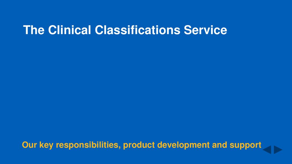 The Clinical Classifications Service