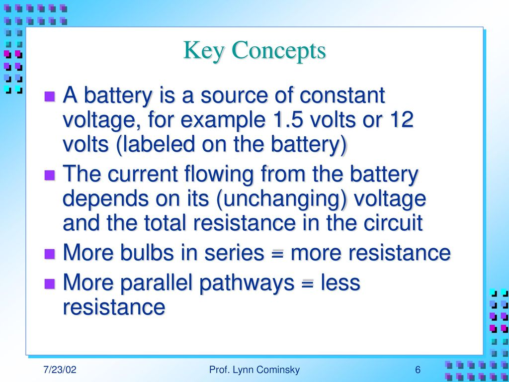 A Deeper Look At Electricity First Magnets Ppt Download Changing The Voltage Across Circuit Too High And Bulb Key Concepts Battery Is Source Of Constant For Example 15 Volts Or