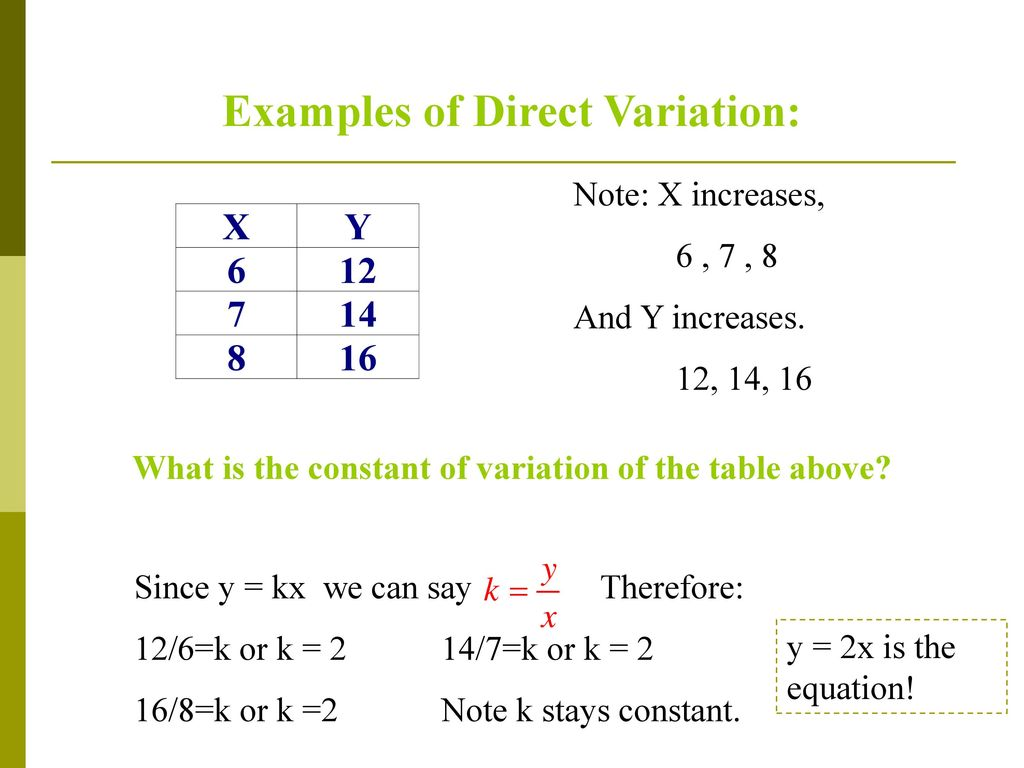 direct variation lesson 8 alg 2 - ppt download