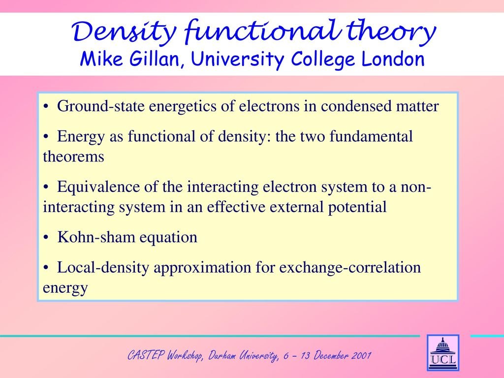 3: Density Functional Theory - ppt download