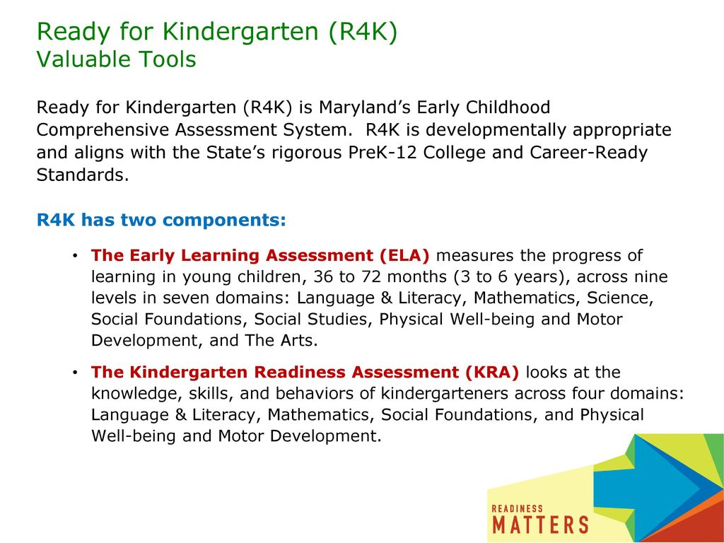 Ready for Kindergarten (R4K) Valuable Tools