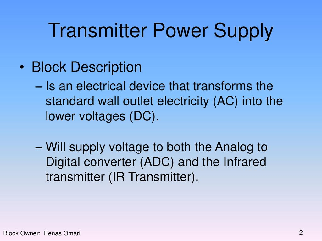 Block Diagram Transmitter Receiver 2 Power Supply Adc Of