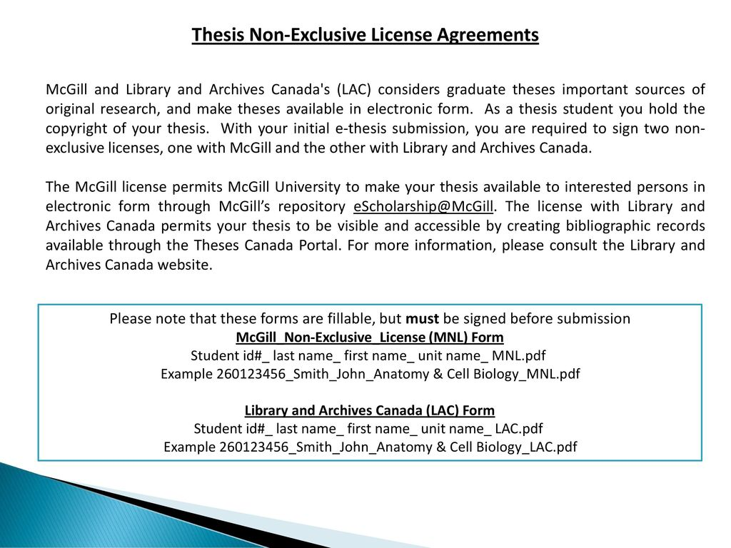 Mcgill graduate studies thesis submission