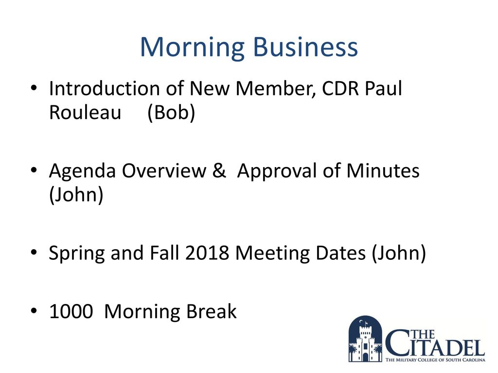 The Citadel ECE Advisory Board Meeting - ppt download