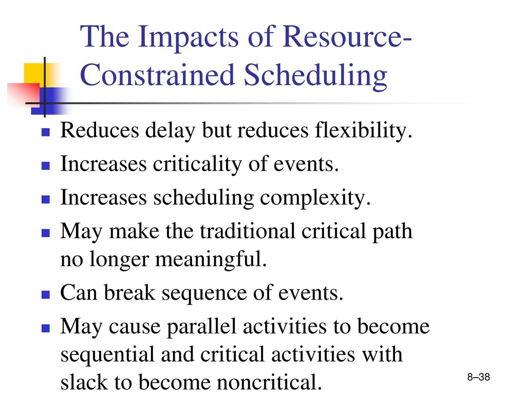 how does resource scheduling reduce flexibility in managing projects