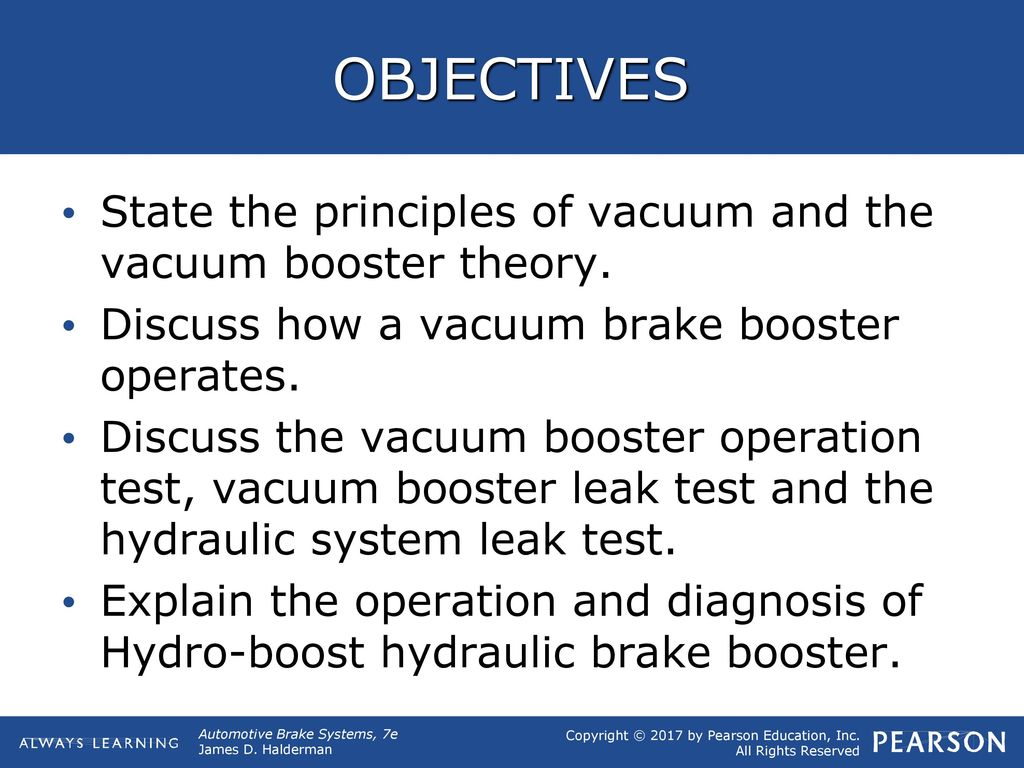 OBJECTIVES State the principles of vacuum and the vacuum
