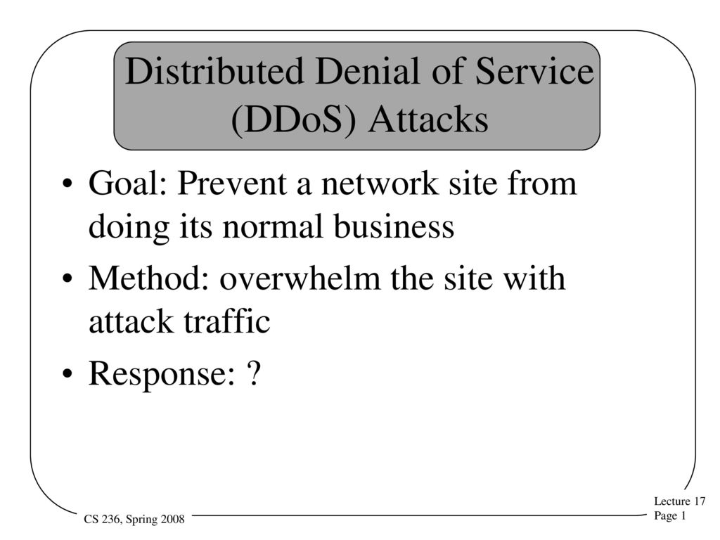 Distributed Denial of Service (DDoS) Attacks - ppt download