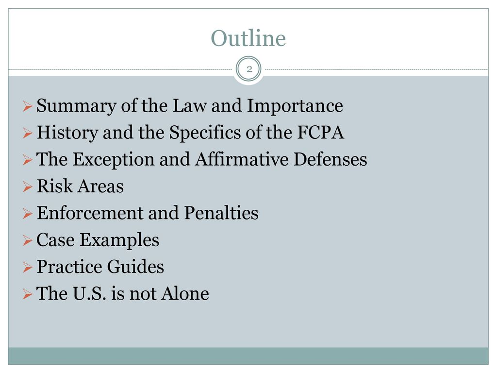 U S Foreign Corrupt Practices Act Basic Overview And