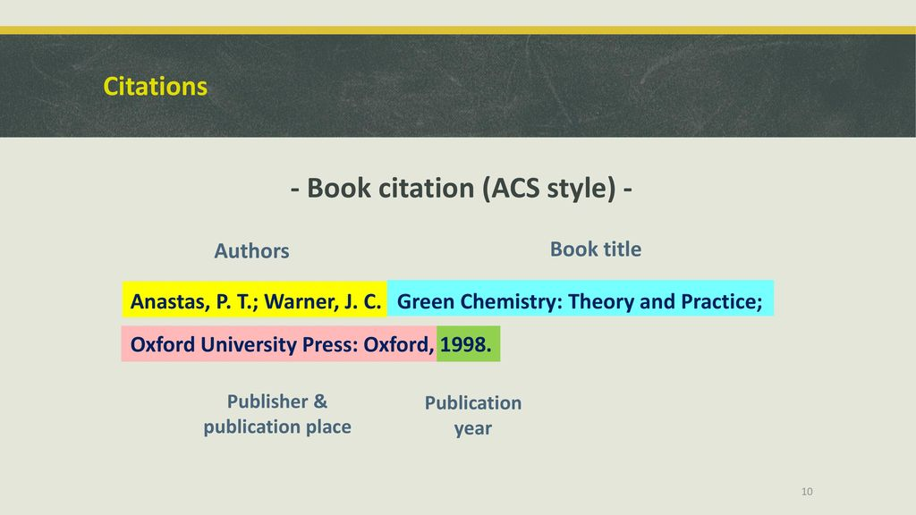 Library resources and citation tools for chemistry honours students 10 book citation acs ccuart