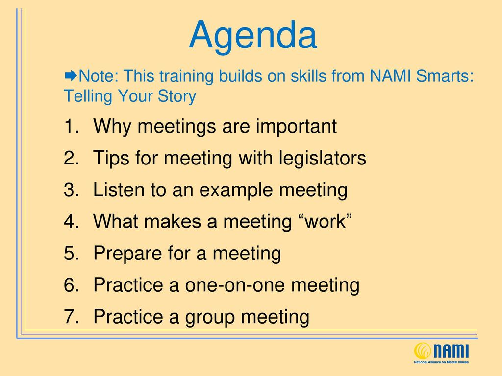NAMI Smarts for Advocacy: Meeting Your Policymaker Module