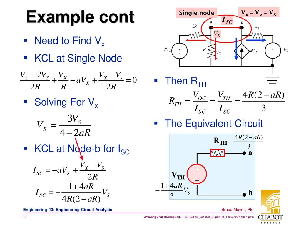Super Node Mesh Thevnin Norton Ppt Download Single Wiring Diagram Example Cont Need To Find Vx Kcl At Then Rth