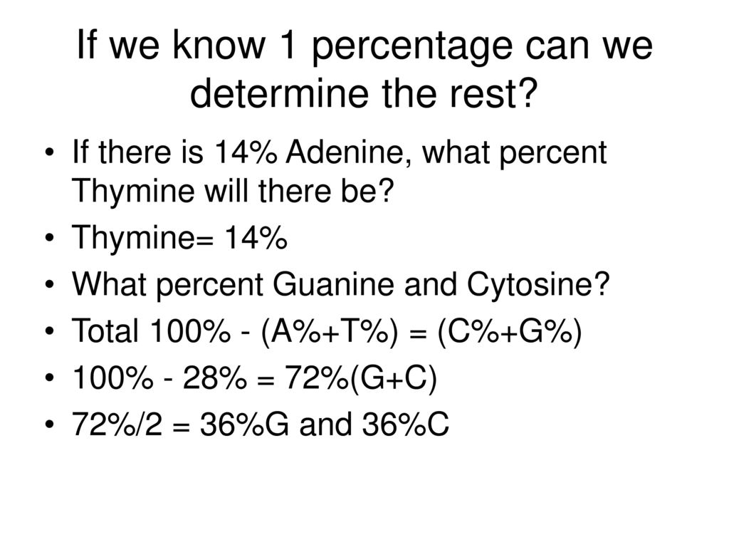 If we know 1 percentage can we determine the rest