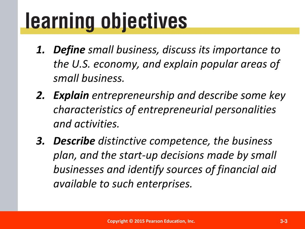 define 3 characteristics of a small business