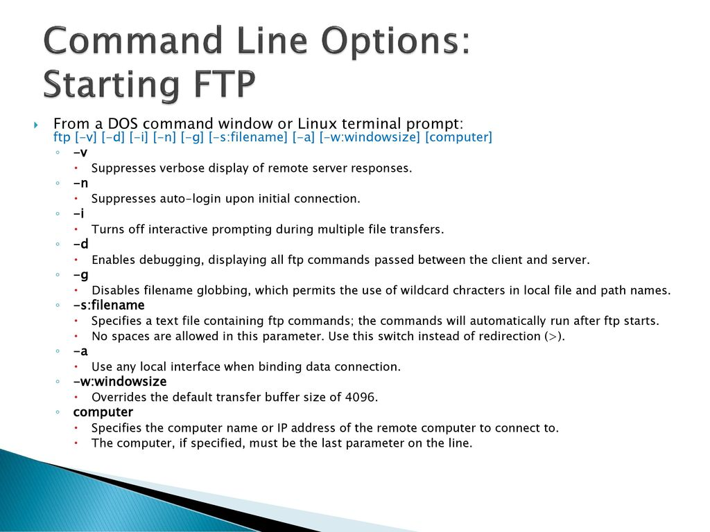 Ftp Command Line Linux Username Password