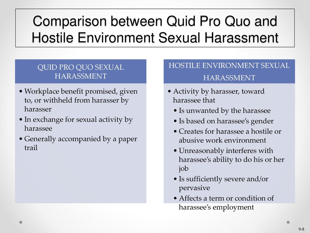 Sexual harassment quid pro quo and hostile environment cases