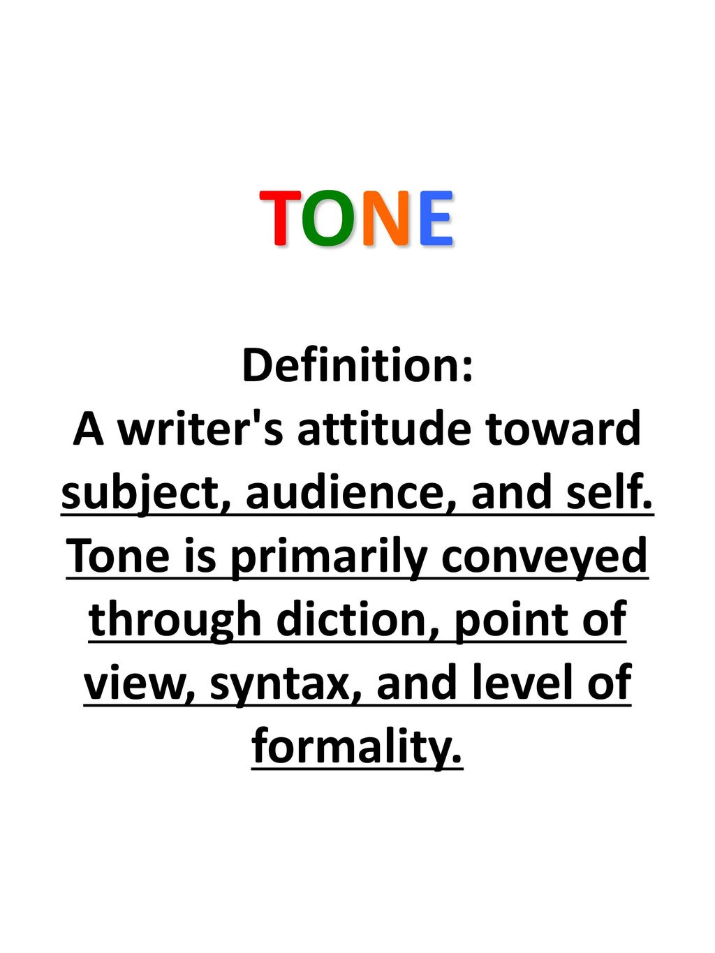 TONE Definition: A writer's attitude toward subject, audience, and ...