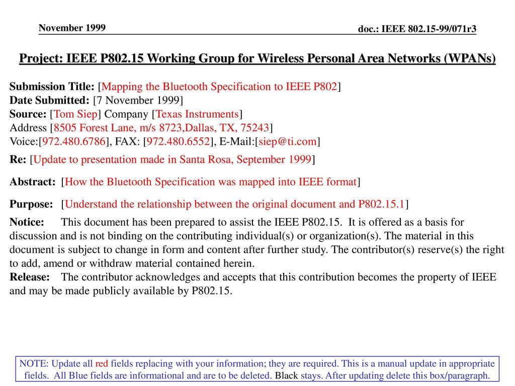 November 1999 Project: IEEE P Working Group for Wireless Personal Area Networks (WPANs)
