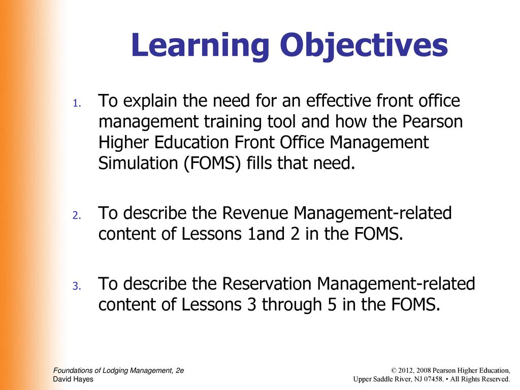 The Front Office Management Simulation (FOMS) - ppt download