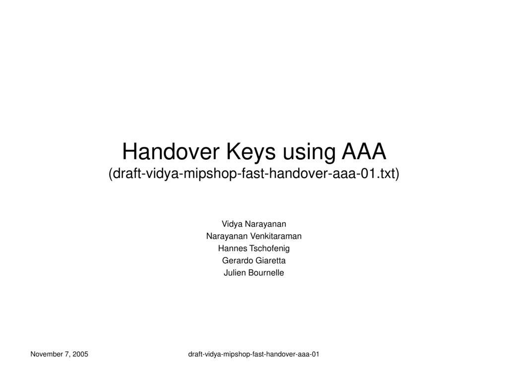 Handover Keys using AAA (draft-vidya-mipshop-fast-handover