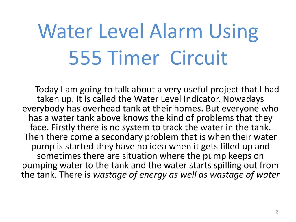 Project Of Linear Circuit Analysis Ppt Download Alarm Water Level Indicator Using 555 Timer