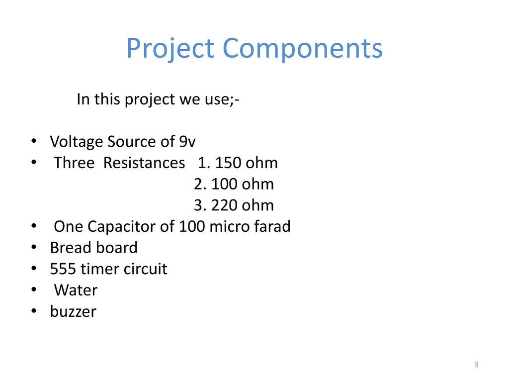 Project Of Linear Circuit Analysis Ppt Download 9 Volt Buzzer Diagram Components Voltage Source 9v Three Resistances Ohm