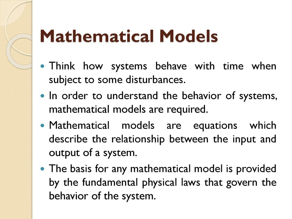 Mathematical Modelling of Mechanical and Electrical Systems - ppt