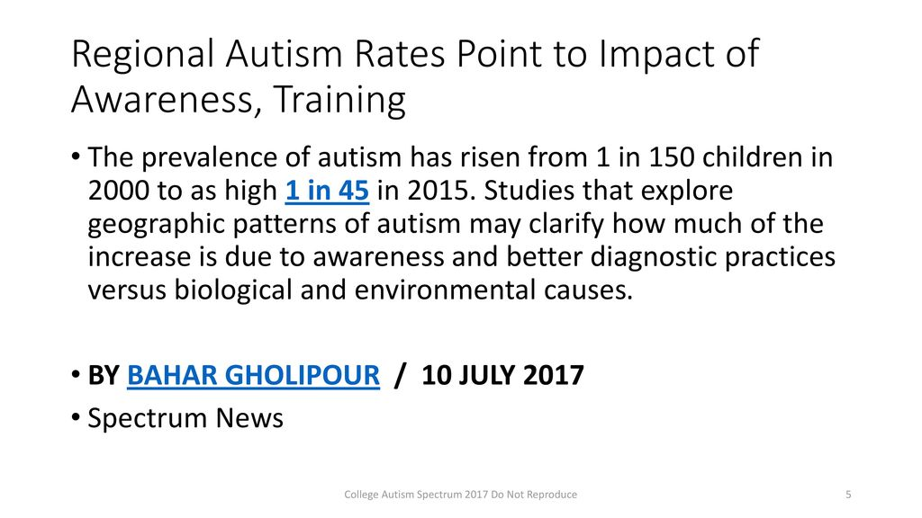 Regional Autism Rates Point To Impact >> Jane Thierfeld Brown Ed D College Autism Spectrum Ppt