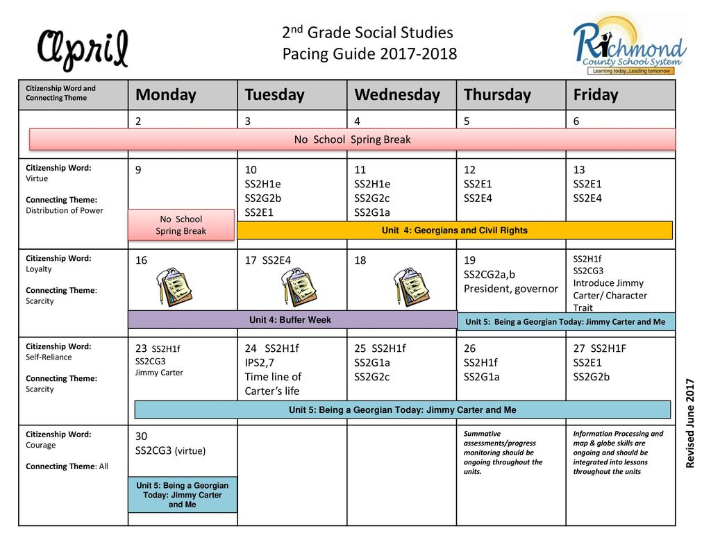 2nd Grade Social Studies Pacing Guide Monday Tuesday