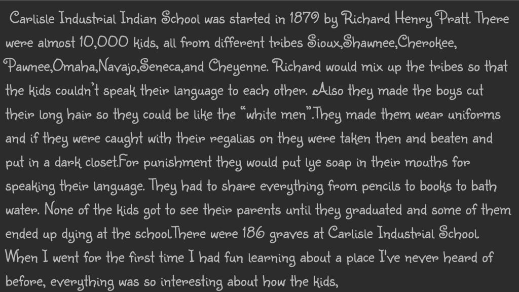 Carlisle Industrial Indian School was started in 1879 by Richard