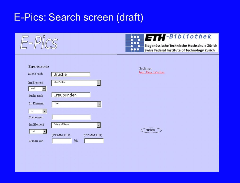 E-Pics: Search screen (draft)