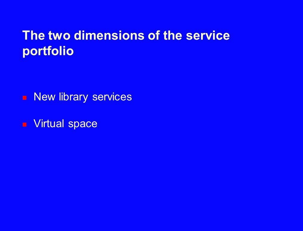 The two dimensions of the service portfolio