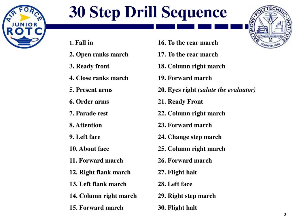 30 Step Drill Sequence 2. Open ranks march 17. To the rear march