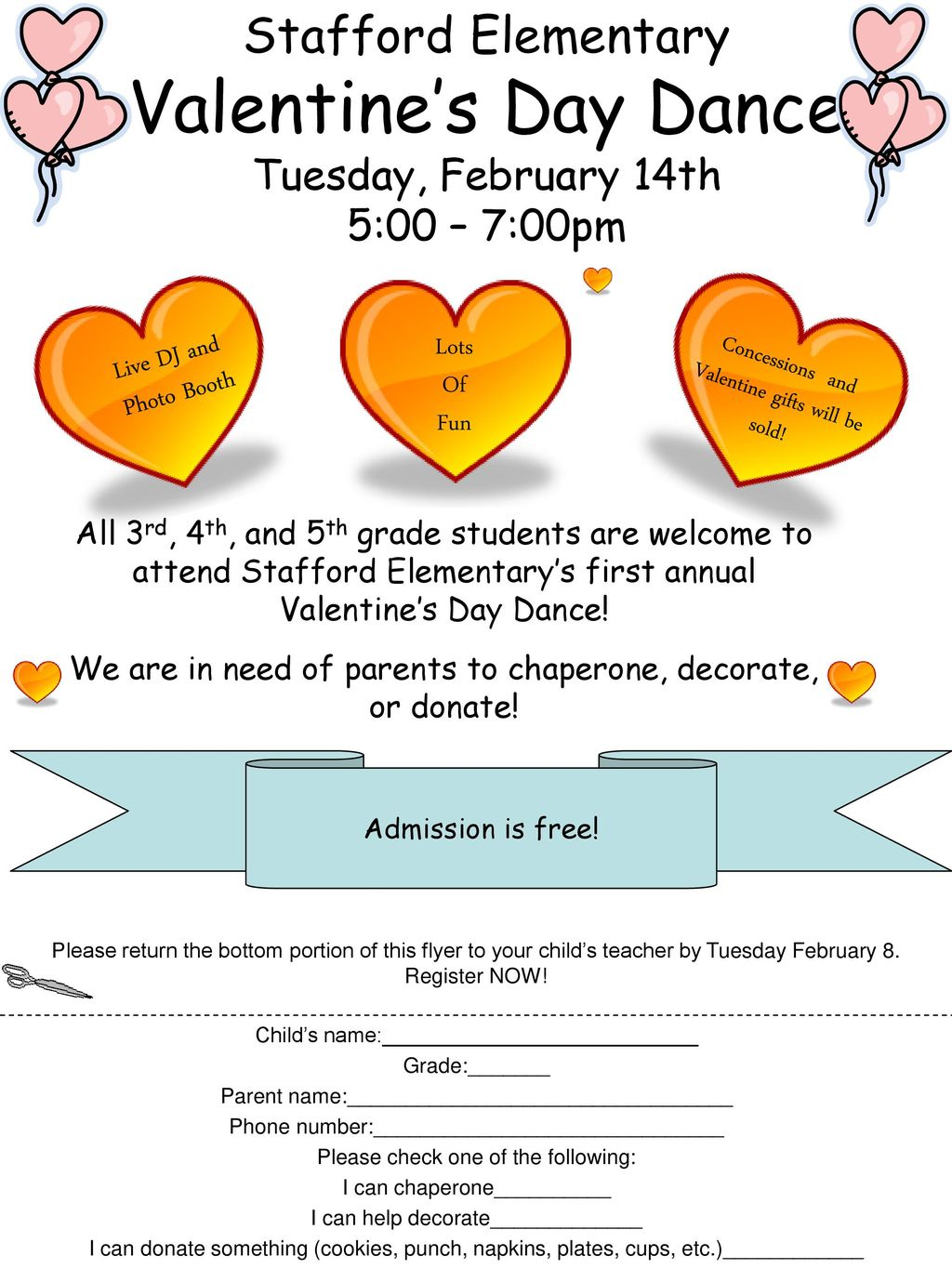 Concessions And Valentine Gifts Will Be Sold Live Dj And Photo