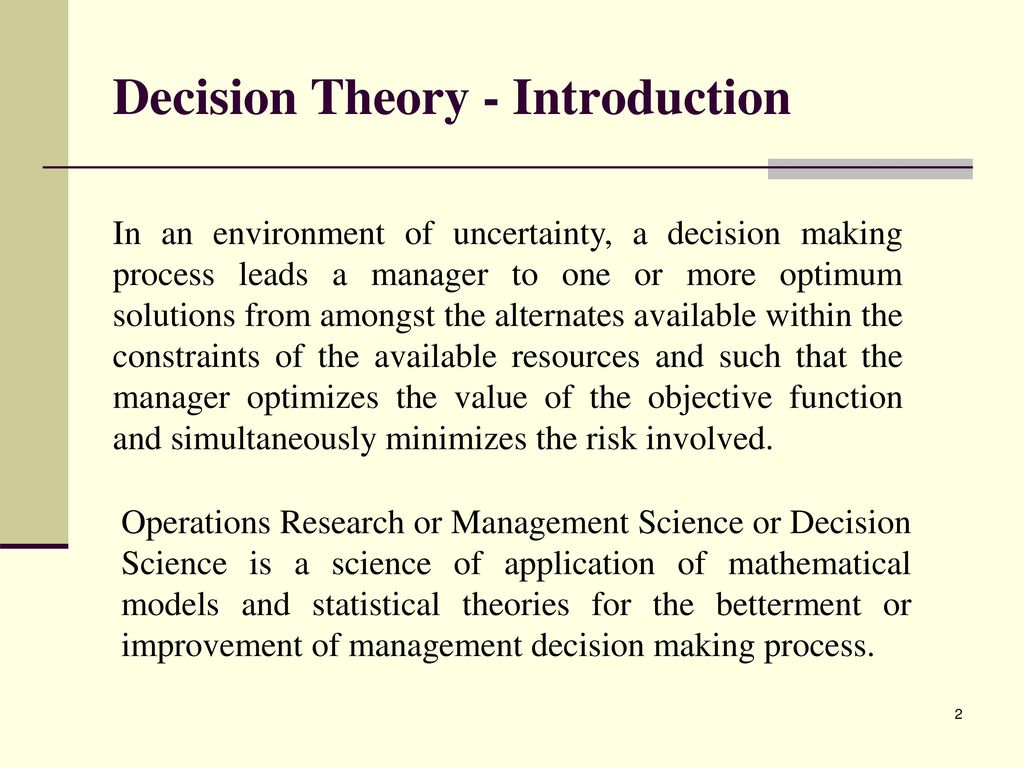 decision making environment in operation research