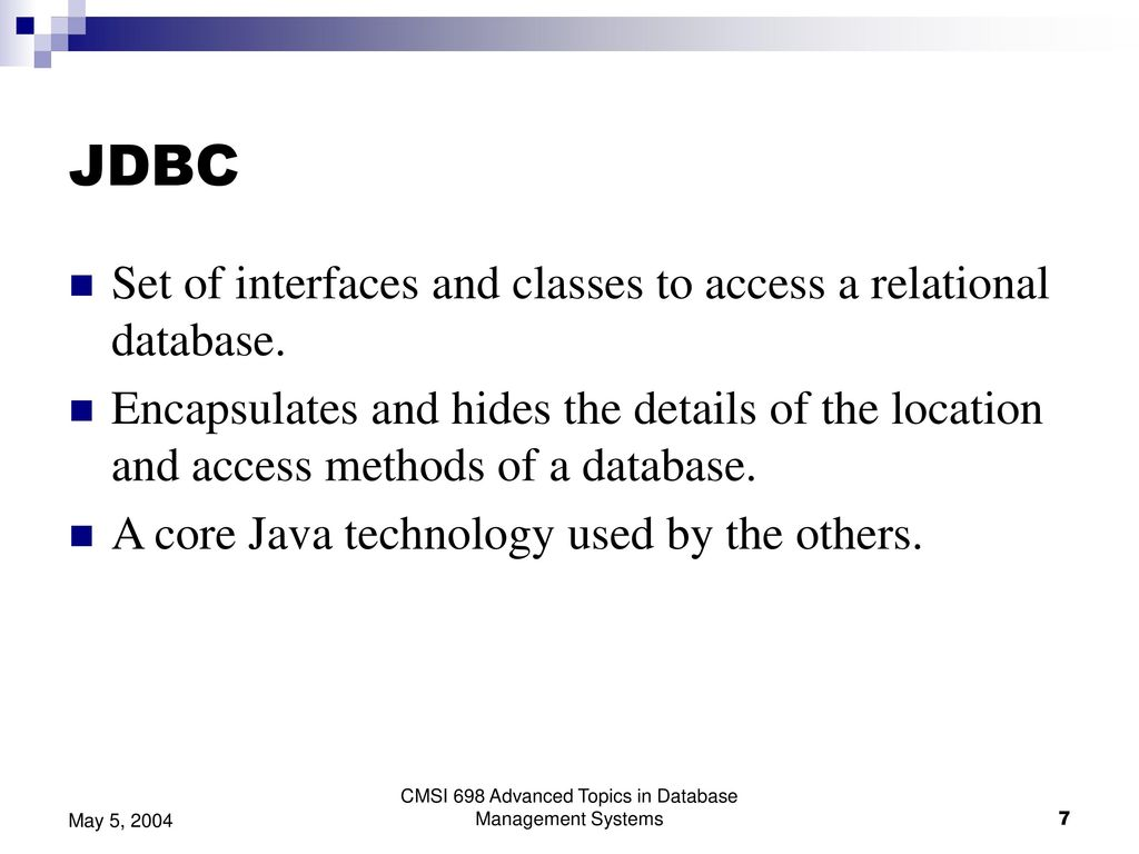Implications of JDO for Java Database Access Architectures