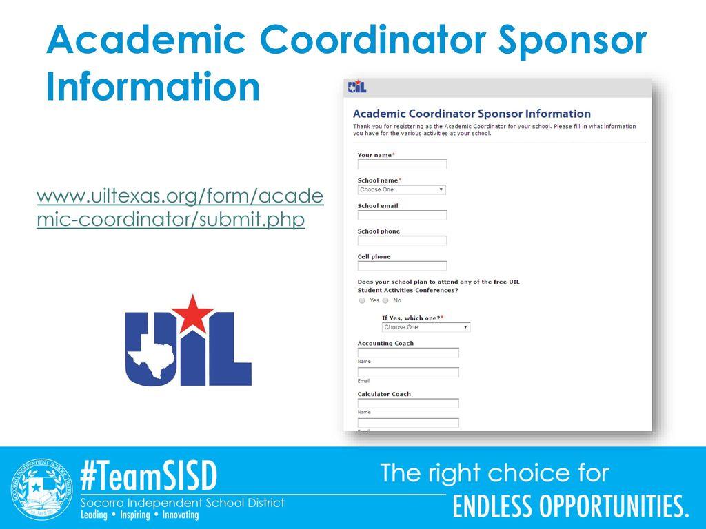 4 Academic Coordinator Sponsor Information
