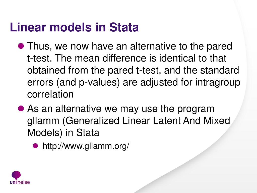 From t-test to multilevel analyses (Linear regression, GLM