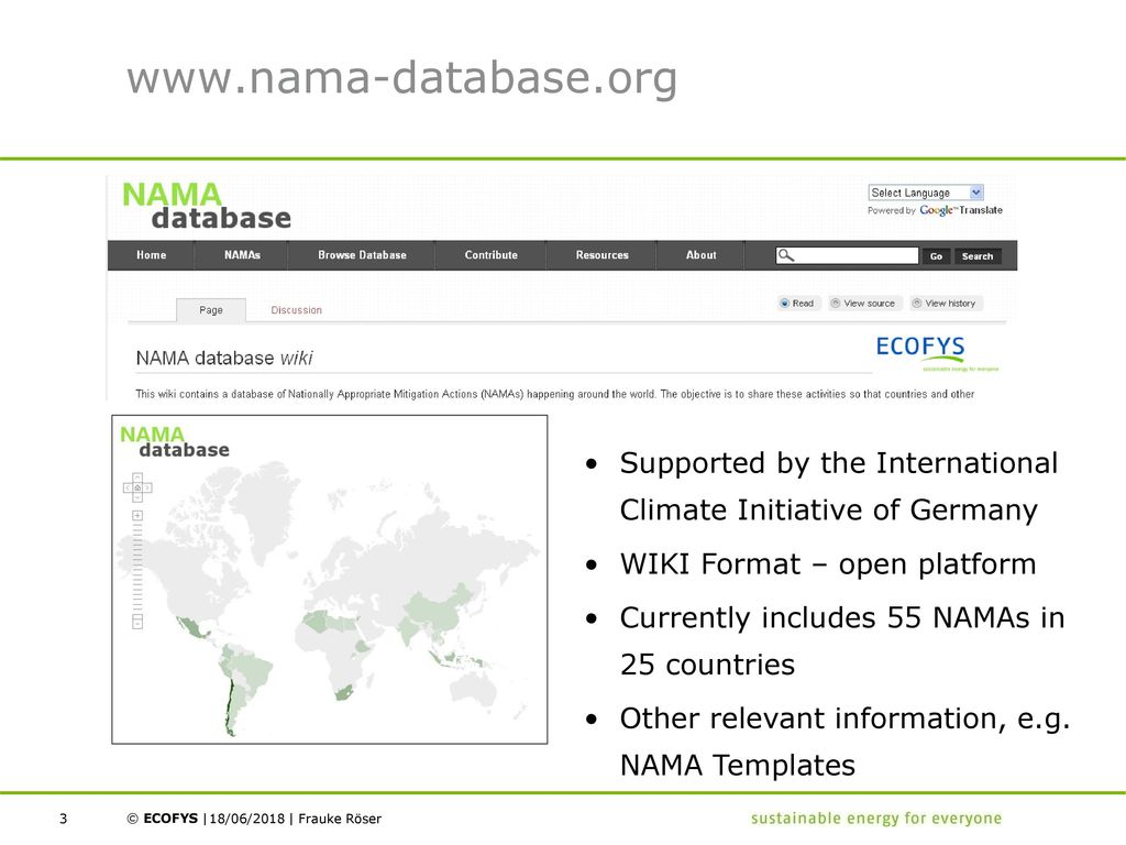 NAMA Database & Annual Status Report on NAMAs - ppt download