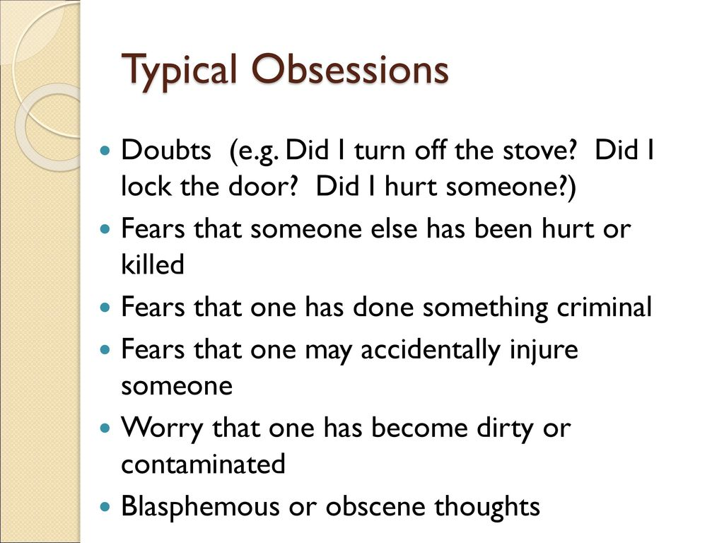 Obsessive-Compulsive Disorder - ppt download