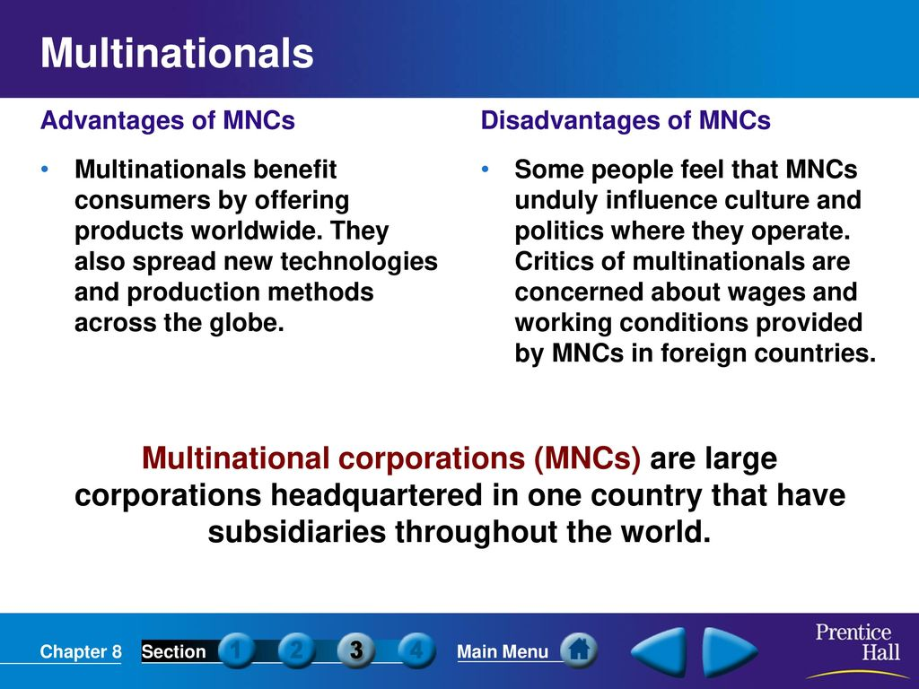 multinational corporations mncs essay The multinational companies in india represent a diversified portfolio of companies from different countries though the american companies—the majority of the mnc in india—account for about one-third of the turnover of the top 20 firms operating in india, the scenario has changed a lot of late.