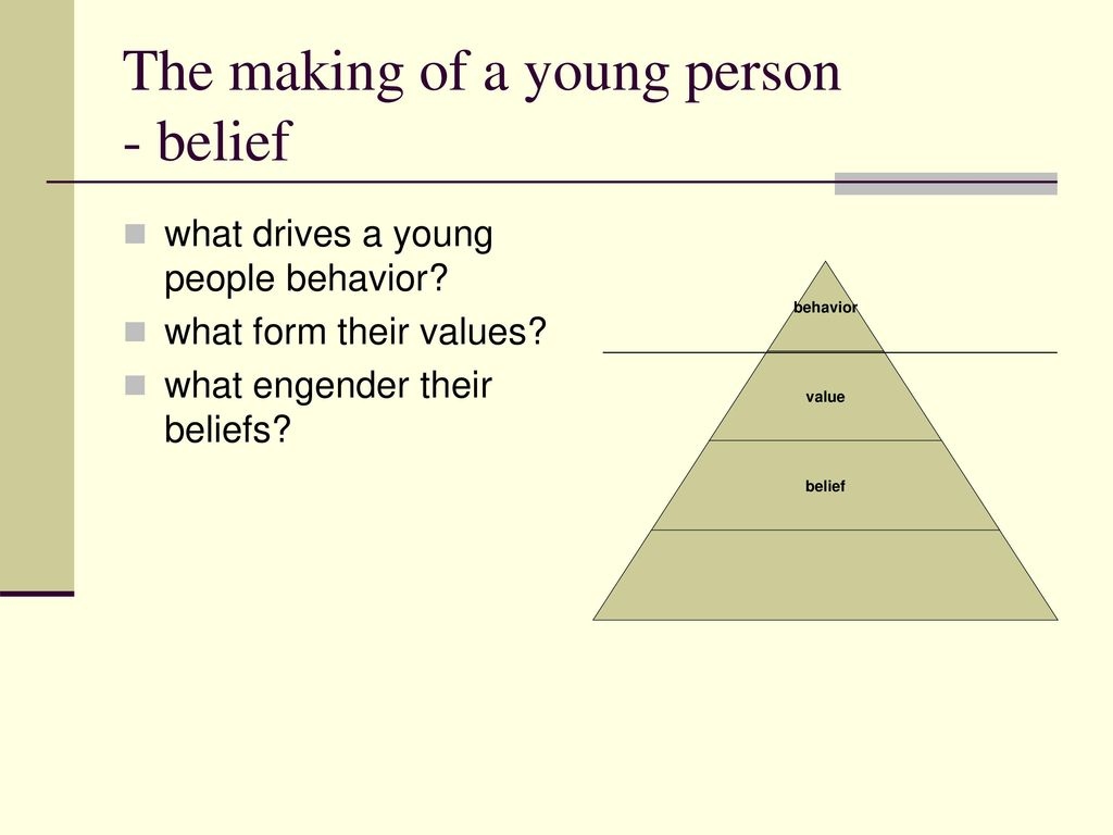 The making of a young person - belief