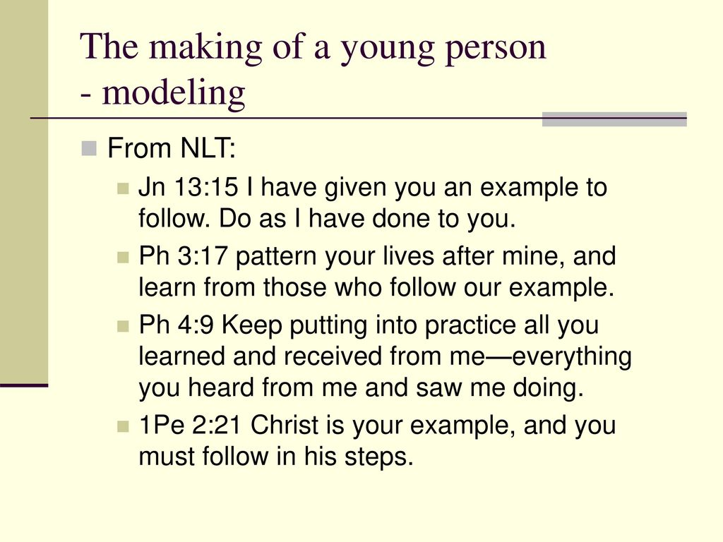 The making of a young person - modeling