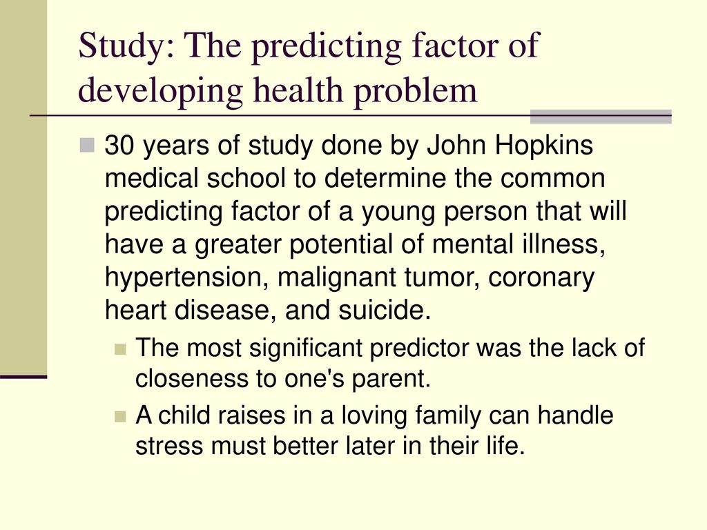 Study: The predicting factor of developing health problem