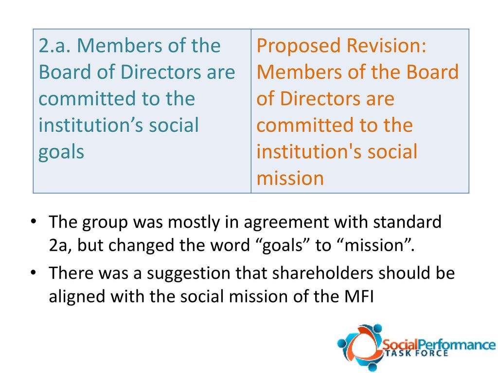 Universal Standards For Social Performance Management Governance And