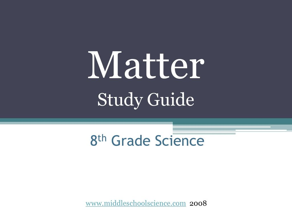 1 Matter Study Guide 8th Grade Science