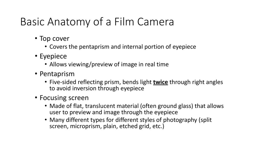 Anatomy & Physiology of a Camera - ppt download